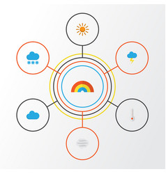 Weather flat icons set collection of windy bow vector