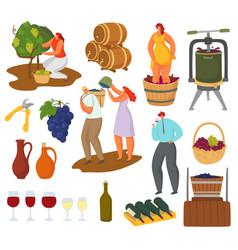 Wine and winemaking set vector
