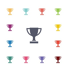 winner cup flat icons set vector image vector image