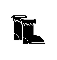 winter boots black icon sign on isolated vector image