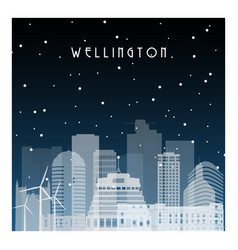 Winter night in wellington night city vector