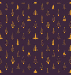 xmas trees seamless pattern hand drawn vector image