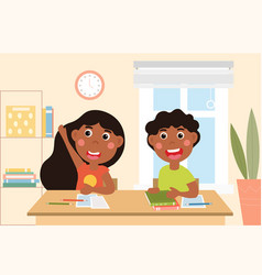 young boy and girl in class at school vector image