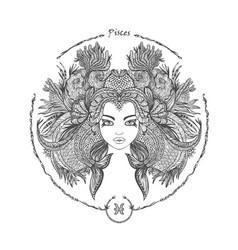 Zodiac sign portrait of a woman pisces vector