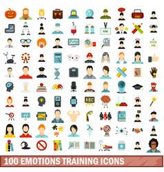 100 emotions training icons set flat style vector