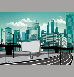billboard near the autobahn outside the city vector image vector image