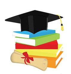 Book stack graduation cap and diploma vector image