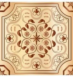 Floral wood mosaic seamless pattern vector image vector image