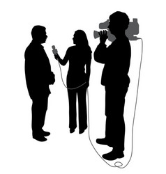 interview with cameraman vector image