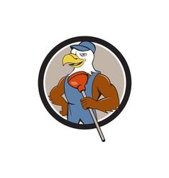 Bald Eagle Plumber Plunger Circle Cartoon vector image vector image