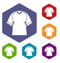 raglan tshirt icons set hexagon vector image vector image