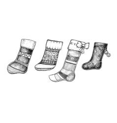 Set of four hand drawn ink Christmas socks vector image vector image