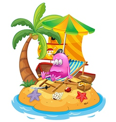 A pink pirate monster in the island vector image