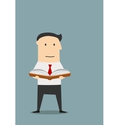 Cartoon business with book in hands vector image
