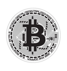 crypto currency bitcoin black and white symbol vector image vector image