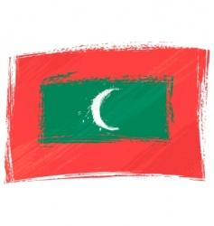 grunge Maldives flag vector image