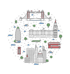 london travel poster in linear style vector image vector image
