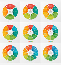 set of 4-12 circle chart infographic templates vector image vector image