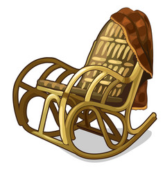 vintage comfortable rocking chair with blanket vector image