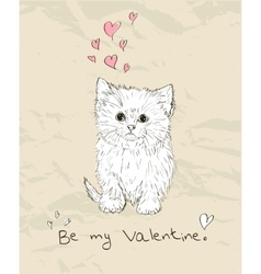 Vintage love card with kitten vector
