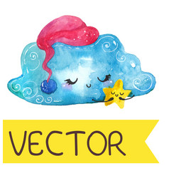 cartoon night scene with cute cloud and star vector image