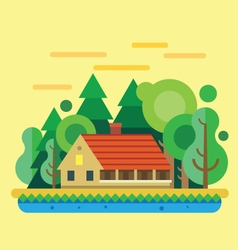 House in forest summer landscape vector image
