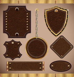 Leather LABELS set vector image vector image