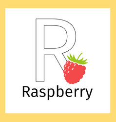 raspberry and letter r coloring page vector image vector image