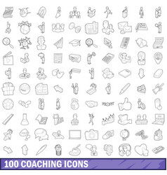 100 coaching icons set outline style vector