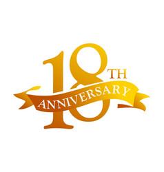 18 year ribbon anniversary vector