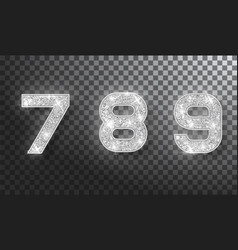789 glitter typography design silver sparkling vector image
