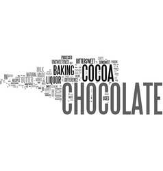 A bakers guide to chocolate text word cloud vector