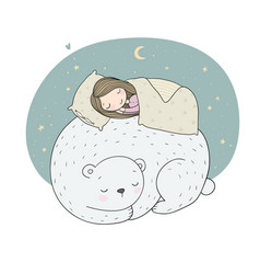a sleeping girl and a bear good fairy tale good vector image