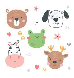 animals heads-01 vector image