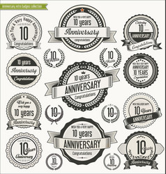 Anniversary retro badges collection 10 years vector