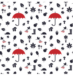 Autumn pattern with red umbrella vector