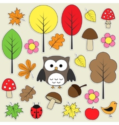 Autumnal stickers vector