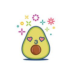 avocado smiling kawaii cartoon vector image