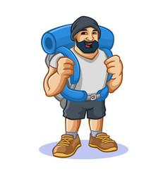 Backpacker man mascot design vector