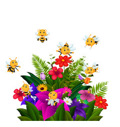 Bees flying over some flowers vector