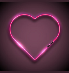 bright neon sign in form of heart retro neon vector image