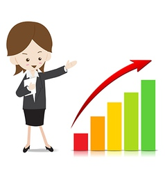 Business woman with growing graph vector