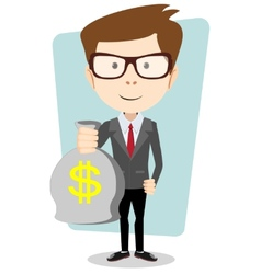 Businessman with a Bag of Gold Cash Dollar vector image