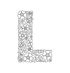 Capital letter l patterned with abstract flowers vector