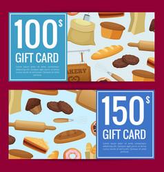 cartoon bakery discount or gift voucher vector image