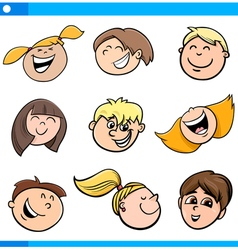 cartoon kids characters set vector image