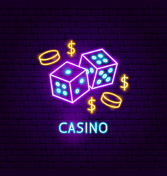 Casino neon label vector