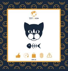 Cat with fish skeleton icon logo symbol vector