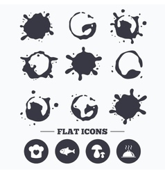 Chief hat cooking pan icons Fish and mushrooms vector image