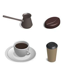 coffee set in 3d vector image
